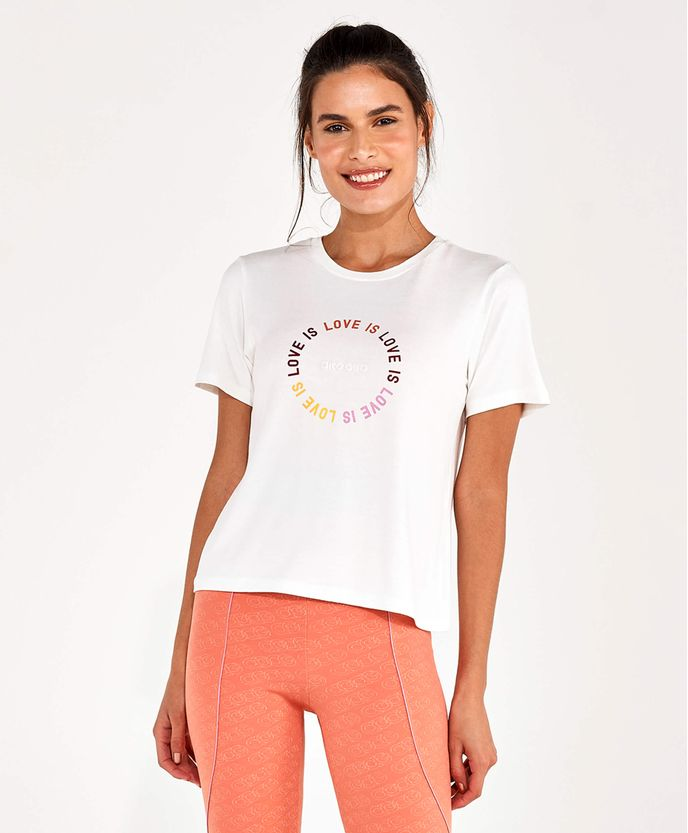 T-Shirt-Alto-Giro-Radiosa-Love-Is-OFF-WHITE-frente