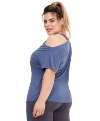T-Shirt-Alto-Giro-Skin-Fit-Ombro-Caido-Plus-AZUL-MOONLIGHT-costas