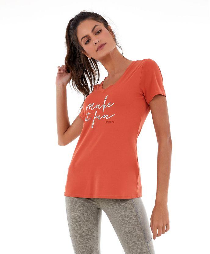 T-shirt Alto Giro Skin Fit Make It Fun LARANJA GINGER P